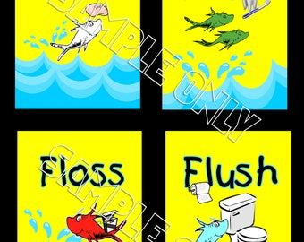 Dr Seuss One Fish Two Fish Bathroom Wash Brush Floss Flush 8