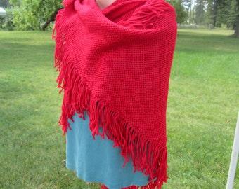 Red hand woven triangular shawl
