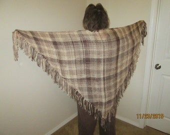 Brown and white hand woven triangular shawl