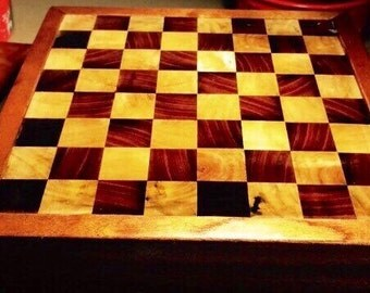 End grain butcher block thick unique by hfcustomwoodworks - Chess board display case ...