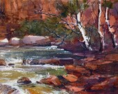 "Red Rocks in Oak Creek Canyon - Original WATERCOLOR by Linda Henry - 5""x 7"" - Ready to Frame with a free White Mat (#387)"