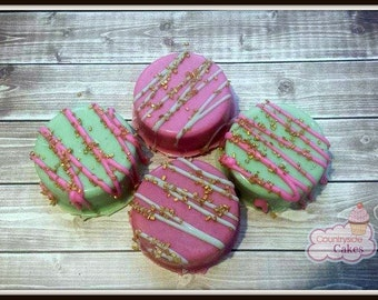 Pink Gold and Mint Green Chocolate Covered oreos. Baby Shower, Wedding Favors, Birthday parties. 1 dozen