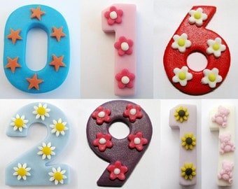 CHOOSE NUMBER & COLOUR edible fondant Large Number with daisies-  edible sugar cake topper 6.5cm