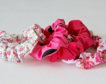 Hair Scrunchies, Floral Scrunchie, Pink Scrunchie, Heart Scrunchie, Hot Pink Scrunchie, Scrunchie, Cotton Scrunchies, Girls Scrunchies