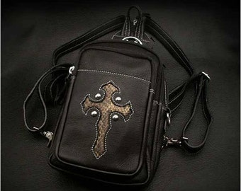 Black leather Backpack  K05D31