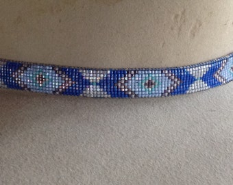 Southwest design hand loomed beaded hatband in shades of blue