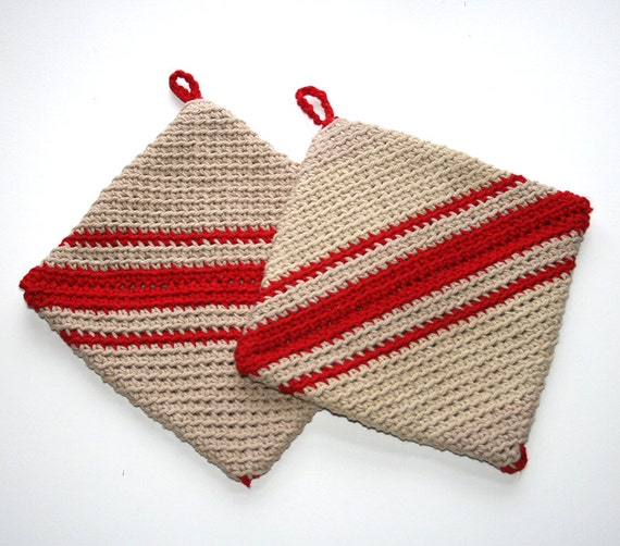 Red Pot Holders: Two Double Thick Pot Holders Hot Pads Red By SmallbonesShop