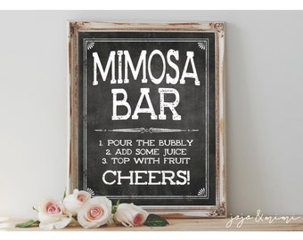 Instant 'MIMOSA BAR' Printable Sign Chalkboard Printable Party Decor Mimosa Table Bridal or Baby Shower Wedding Event Size Options