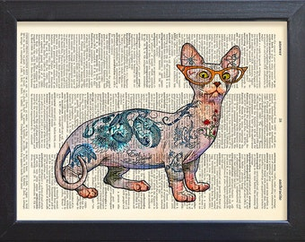 Cat art print, Tattoo poster, Sphynx Cat, geekery whimsey kitty , Book Pages, Gift, Wall decor, CODE/061