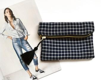 blue & white   plaid foldover makeup bag, light blue cotton lining + black tassel
