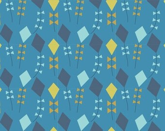 Little Kites in Navy, Spring Walk Collection by Little Cube for Cloud 9 Organic Fabrics