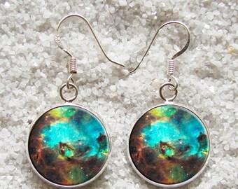 SALE 3 days 20% Resin EARRINGS - 925 Sterling Silver Hooks -((( Nebula )))- INCREDIBLE Price