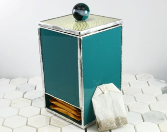 Teal Glass Tea Box, Kitchen Accessory, Tea Caddy, Tea Bag Holder, Tea Storage Box, Kitchen Decor, Tea Accessory, Tea Drinkers Gift