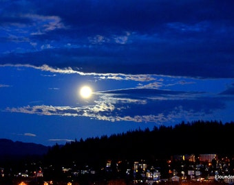 Moon Rise, Strawberry Moon, over Bellingham. Wa., wall art, fine art print