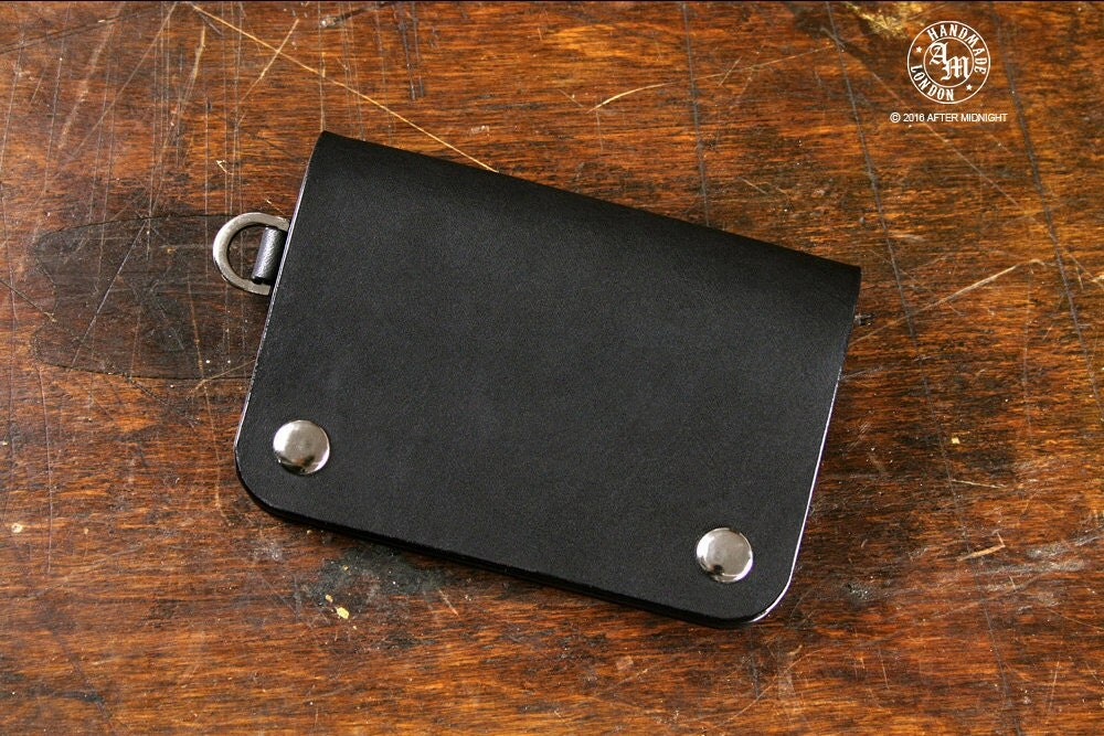 Small Trucker Wallet Black Biker Wallet Hand Stitched