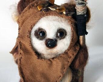Handmade Needle-Felted Wool Ewok *Wicket*