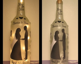 Wedding Wine Bottle Night Light
