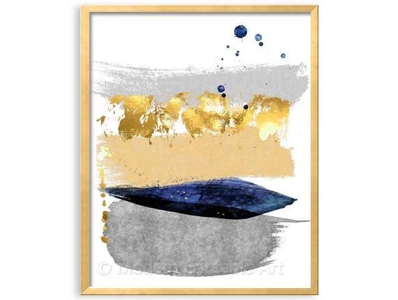 Navy Gray Printable Art Navy Abstract Art Navy Paint Stroke