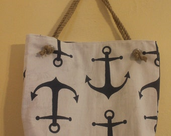 Navy anchor nautical large rope beach tote