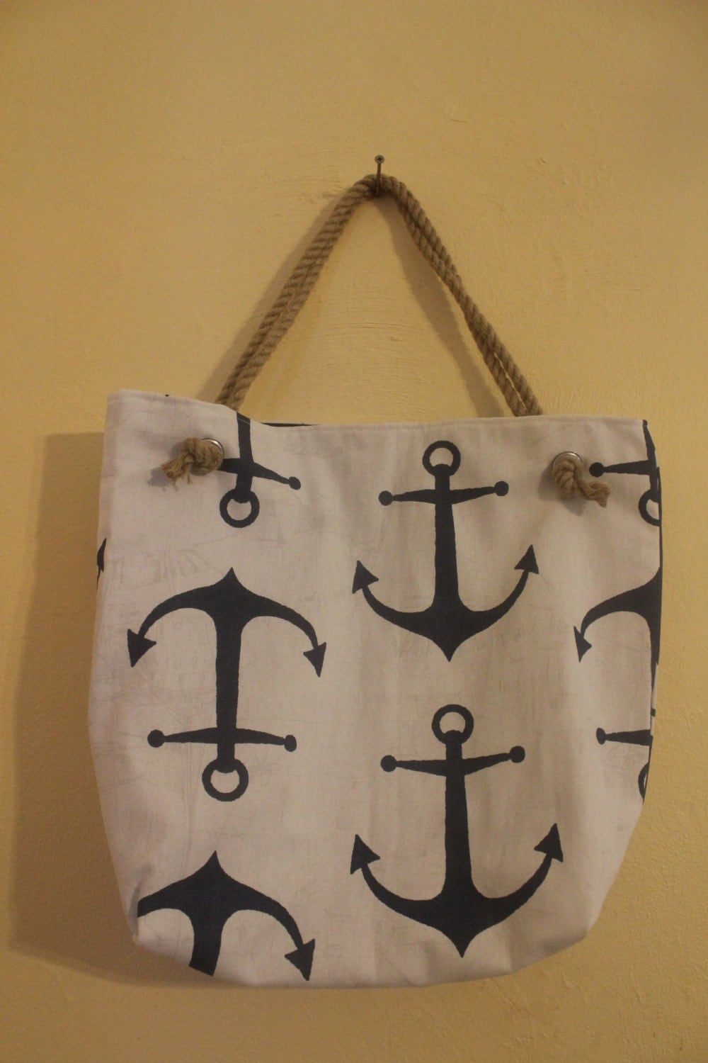 Navy anchor nautical large rope beach tote for Large nautical rope
