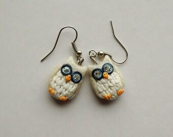 Polymer Clay Earrings, Owl Earrings, Owl Jewelry, Polymer Clay Bird Earrings,