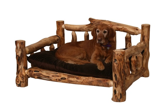 Rustic dog bed wood dog bed log dog bed pet furniture for Wood dog bed furniture