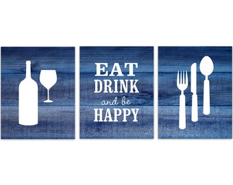Blue Kitchen Decor, Rustic Kitchen Art, Eat Drink Quote, Fork Spoon Wall Decor, Wine Glass Art, Kitchen CANVAS Wall Art - HOME152