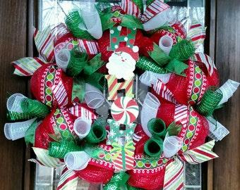 Handmade Christmas Deco Mesh Wreath