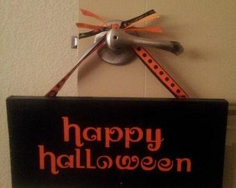 Wooden Happy Halloween Sign