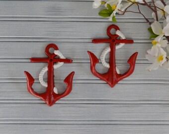 Set of Two Red Anchor Hooks. Anchor Hook. Anchor Decor. Beach Decor. Nautical Decor. Coastal Decor. Towel Hook. Key Hook. Hat Hook