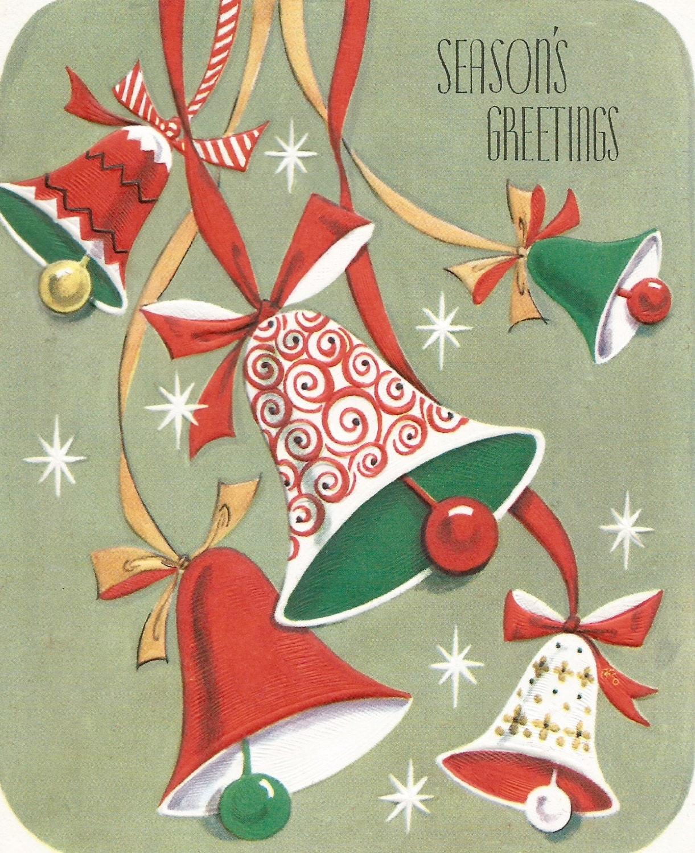 Vintage Bells Christmas Card Digital Download Printable