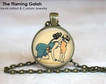 ART DECO LADY Bather Pendant •  Art Deco Jewelry •  Vintage Print Jewelry • Gift Under 20 • Made in Australia (P0827)