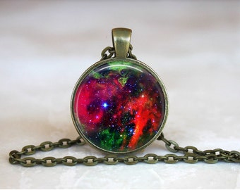 NEBULA RED NIGHT Sky Pendant •  Space •  Galaxy •  Universe •  Celestial Necklace • Gift Under 20 • Made in Australia (P0312)