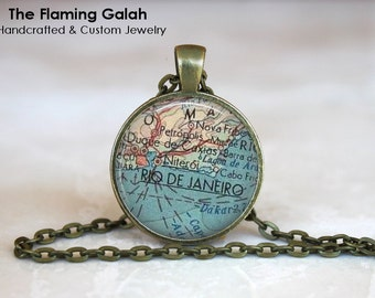 RIO DE JANERIO Map Pendant • Map of Rio • Brazillian City • Vintage Rio De Janerio Map • Gift Under 20 • Made in Australia  (P0488)