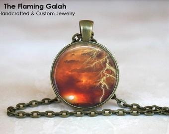 SPECTACULAR LIGHTENING STRIKE Pendant. Lightening Bolt.  Necklace / Pendant / Key Ring. Handmade in Australia (P0262) ** Free Shipping **