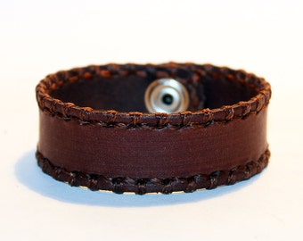 Brown Leather Cuff Bracelet! Nice gift for women!Brown wrist cuff! Bracelet wof women! Bracelet for men.