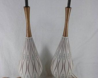 Pair of mid century modern marked faip table lamps southwestern vintage teak and ceramic retro atomic