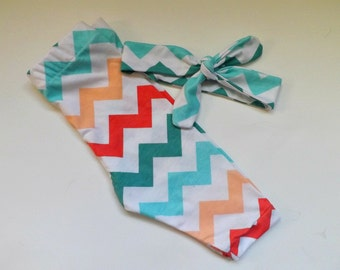 Peach, Light Blue Teal, Red Chevron Leggings Handmade, Chevron Headwrap Knot, Summer Baby Clothes, Girl, Newborn Outfit,Photo Shoot, Toddler