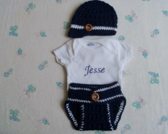 Crochet Baby Boy Hat,Diaper Cover and Personalized Onesie Set  (0-3 Months)