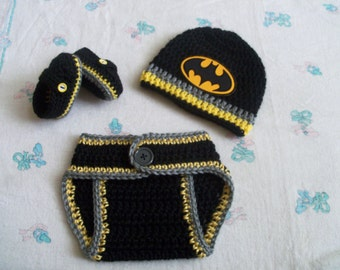 New Handmade Crochet Batman Baby Hat, Diaper Cover and Booties (0-3 months)