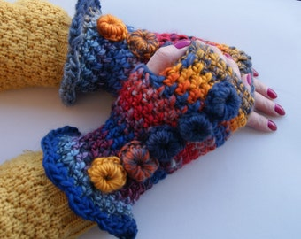 Winter Autumn Spring  crochet Fingerless Mitts-mittens, S/M, soft