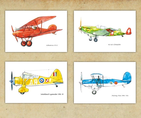 Airplane Bright Color Decor Boys Nursery Art Vintage Airplane
