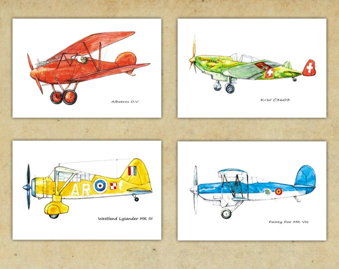 Airplane bright color decor Boy's nursery art Vintage airplane prints Set 4 prints Retro prop driven aircraft Aviation art Gift for pilots