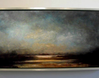 Landscape Clouds over Estuary Original Large Landscape Oil Painting