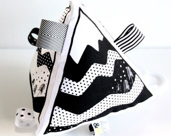Organic Hand Printed Mountain Large Rattle 3D Toy – Black on White - Monochrome - Baby Activity Toy