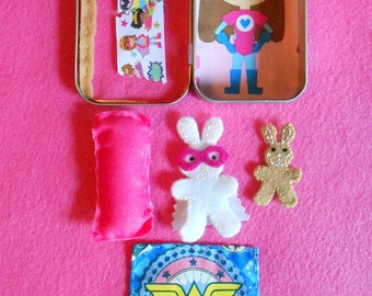 Girl superhero altoid tin bunnies play set, Wonder woman, pretend play, road trip, sleepover, quiet, summer travel, bedtime, stuffed animal,
