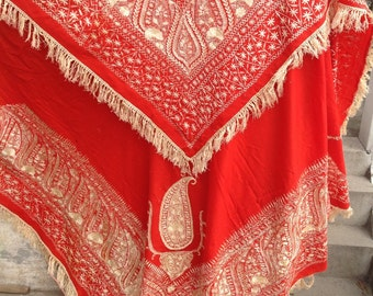 Antique chinese silk embroidered woolen piano shawl scarf hand embroidered flamenco canton shawl antique shawl
