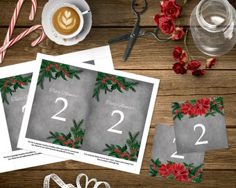 Christmas Wedding Table Numbers, 4x6 and 5x7 DIY Table Numbers, Winter Wedding Template, Mistletoe, Tented Table Number, Tent Card, Winter