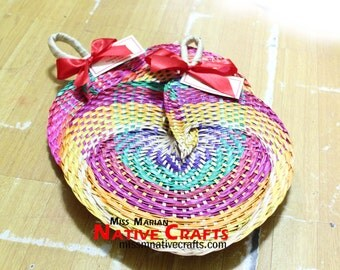 Rainbow Buri Palm Leaf Wedding Hand Fans, Wedding Favors Fans, Palm Leaf fans