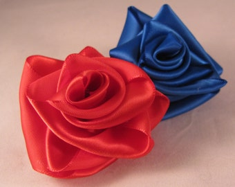 Large Satin Rose Flower Boutonniere Lapel Pin - (1pc) Multiple Colors to Choose From!
